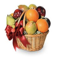 Fruit basket with pears, apples and orange - flowers and bouquets on salonroz.com