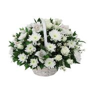 Basket of flowers from 7 orchids, 7 chrysanthemums and 9 roses - flowers and bouquets on salonroz.com