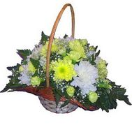 Basket of flowers from 10 chrysanthemums and 7 carnations - flowers and bouquets on salonroz.com