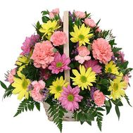 Basket of flowers from 15 chrysanthemums and 10 carnations - flowers and bouquets on salonroz.com