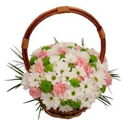 Basket of flowers from 12 chrysanthemums and 11 carnations - flowers and bouquets on salonroz.com