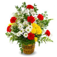Basket of flowers from 4 chrysanthemums and 7 carnations with greens - flowers and bouquets on salonroz.com
