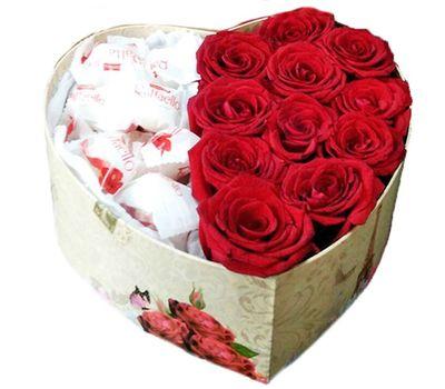 """""""Красные розы и конфеты в коробке"""" в интернет-магазине цветов salonroz.com"""