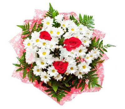"""""""Букет цветов из 3 роз и 6 хризантем с зеленью"""" в интернет-магазине цветов salonroz.com"""