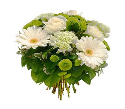 """""""Bouquet of flowers from 3 roses, 3 gerberas, 4 chrysanthemums and 3 carnations"""" in the online flower shop salonroz.com"""