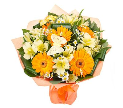 """""""Bouquet of flowers from 5 gerberas and 8 alstroemerias"""" in the online flower shop salonroz.com"""