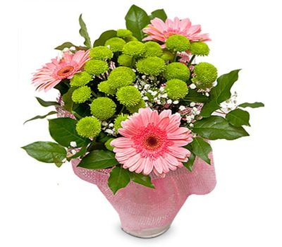 """Bouquet of flowers from 3 gerberas, 4 chrysanthemums and gipsofily"" in the online flower shop salonroz.com"