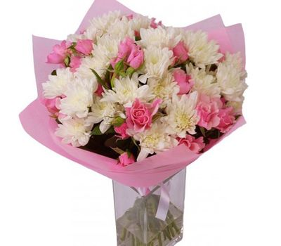 """""""Bouquet of flowers from 9 roses and 6 chrysanthemums"""" in the online flower shop salonroz.com"""