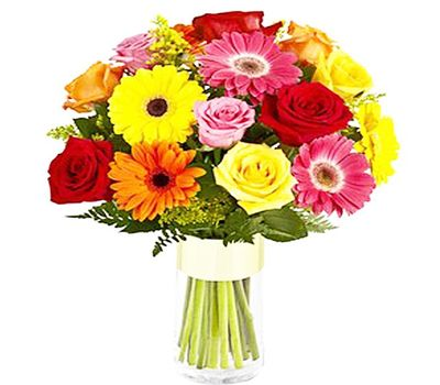 """Bouquet of 10 roses and 9 gerberas"" in the online flower shop salonroz.com"