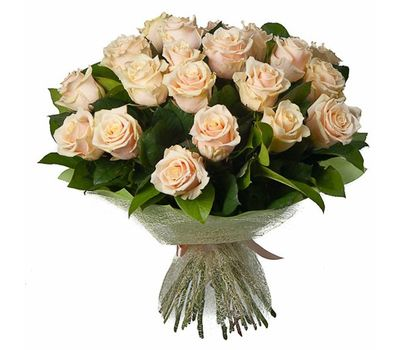 """""""Bouquet of 25 Cream Roses"""" in the online flower shop salonroz.com"""