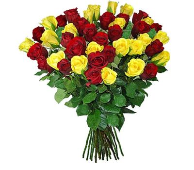 """""""Bouquet of 45 yellow and red roses"""" in the online flower shop salonroz.com"""