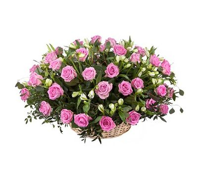 """Basket of roses and alstroemerias"" in the online flower shop salonroz.com"