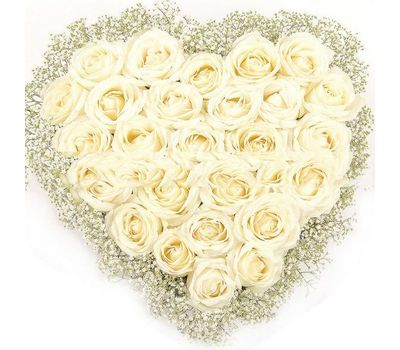 """""""Heart of 31 white roses and gypsophila"""" in the online flower shop salonroz.com"""