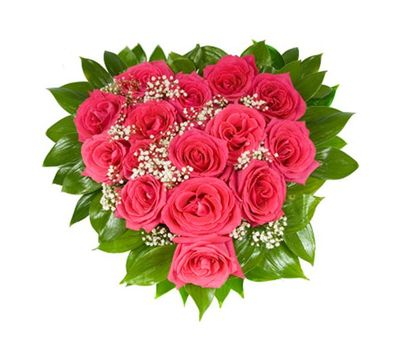 """Heart of red roses and gypsophila"" in the online flower shop salonroz.com"