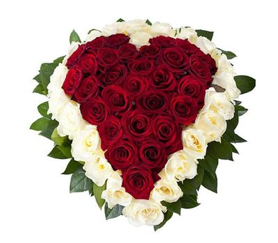 """""""Сердце из 51 белых и красных роз"""" в интернет-магазине цветов salonroz.com"""