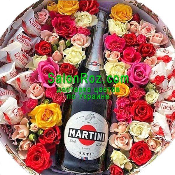 Цветы и шампанское в коробке, любой