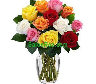 """""""11 разноцветных роз"""" в интернет-магазине цветов salonroz.com"""