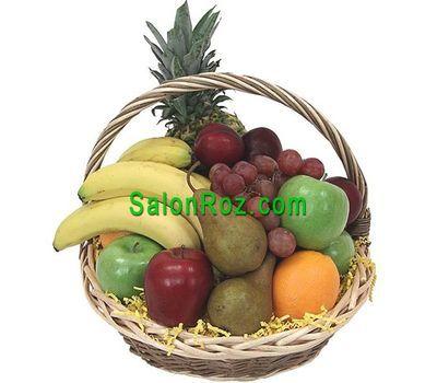 """""""Корзина фруктов с апельсинами, лимонами, яблоками, ананасом и виноградом"""" в интернет-магазине цветов salonroz.com"""