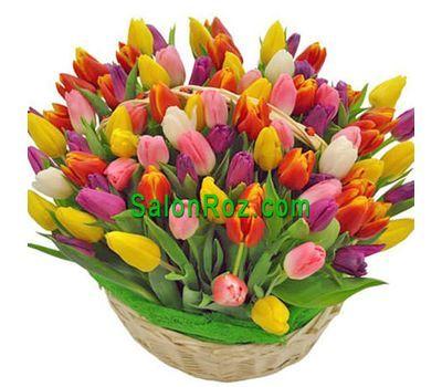"""""""Корзина из 101 разноцветного тюльпана"""" в интернет-магазине цветов salonroz.com"""