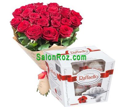 """""""Букет из 25 роз и Raffaello"""" в интернет-магазине цветов salonroz.com"""