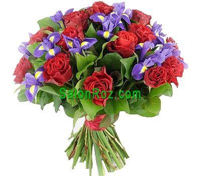 """""""Букет из 15 роз и 10 ирисов"""" в интернет-магазине цветов salonroz.com"""