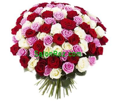 """Bouquet of 101 multi-colored roses"" in the online flower shop salonroz.com"