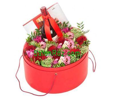 """""""Цветы в шляпной коробке с вином и конфетами"""" в интернет-магазине цветов salonroz.com"""