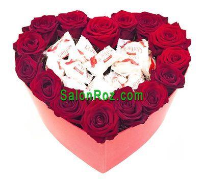 """""""Розы и конфеты в коробке сердце"""" в интернет-магазине цветов salonroz.com"""