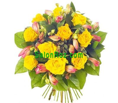 """Yellow pink bouquet of flowers"" in the online flower shop salonroz.com"