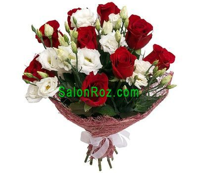 """Bouquet of red roses and white eustomas"" in the online flower shop salonroz.com"