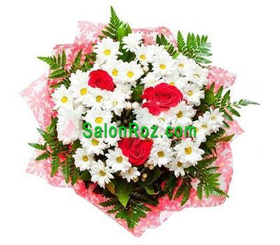 """Bouquet of flowers from 3 roses and 6 chrysanthemums with verdure"" in the online flower shop salonroz.com"