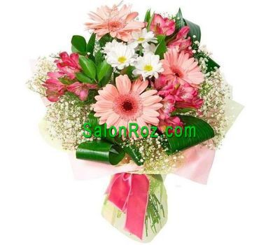 """Bouquet of 3 gerberas, 3 alstroemerias, 3 chrysanthemums"" in the online flower shop salonroz.com"