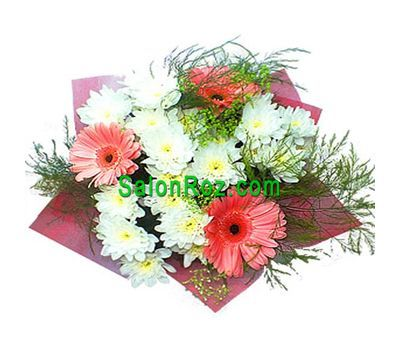 """""""Bouquet of flowers from 4 chrysanthemums and 3 gerberas with verdure"""" in the online flower shop salonroz.com"""