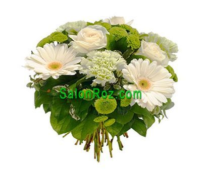 """Bouquet of flowers from 3 roses, 3 gerberas, 4 chrysanthemums and 3 carnations"" in the online flower shop salonroz.com"