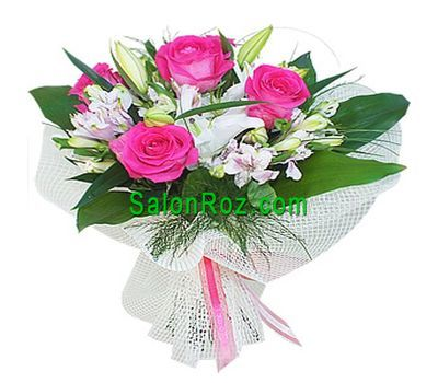 """Bouquet of flowers from 1 lilies, 5 roses and 5 alstroemerias"" in the online flower shop salonroz.com"