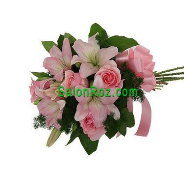"""Bouquet of 2 lilies and 3 roses"" in the online flower shop salonroz.com"