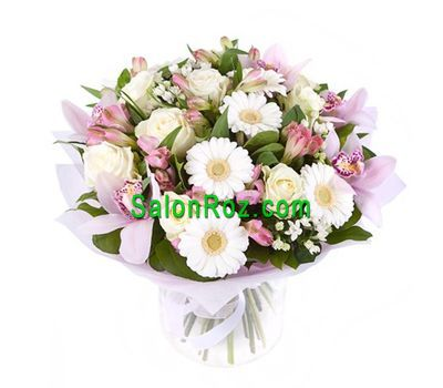 """Bouquet of flowers of 4 orchids, 7 roses, 5 gerberas, 7 alstroemerias"" in the online flower shop salonroz.com"