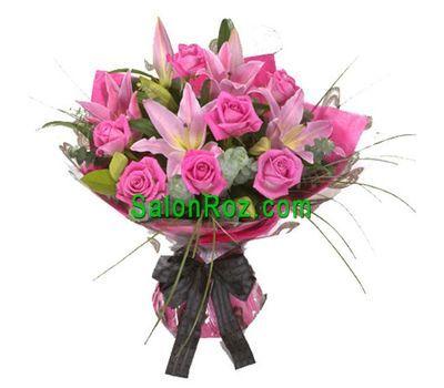 """""""Букет цветов из 7 роз и 2 лилии"""" в интернет-магазине цветов salonroz.com"""