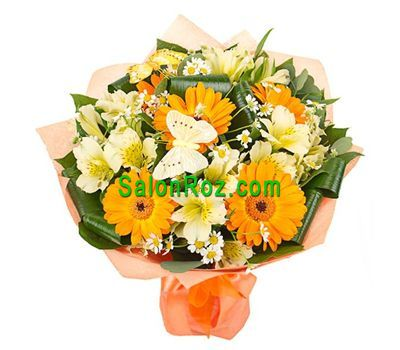 """Bouquet of flowers from 5 gerberas and 8 alstroemerias"" in the online flower shop salonroz.com"
