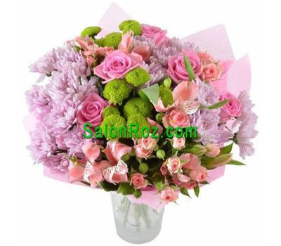 """Bouquet of flowers from 6 roses, 5 alstroemerias and 6 chrysanthemums"" in the online flower shop salonroz.com"