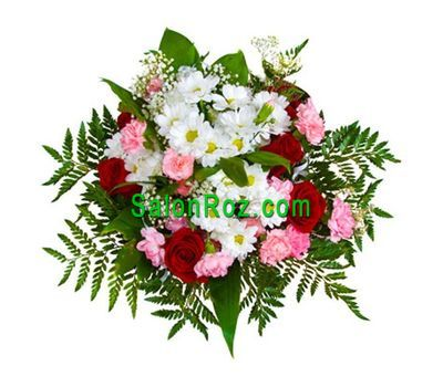 """Bouquet of flowers from 6 roses, 6 carnations, 3 chrysanthemums"" in the online flower shop salonroz.com"