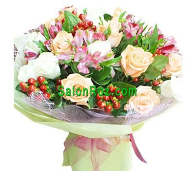 """""""Bouquet of 15 roses and 8 alstromeries"""" in the online flower shop salonroz.com"""