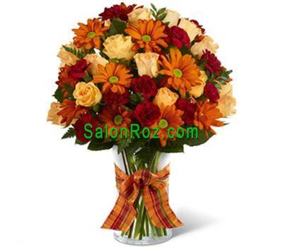 """""""Букет цветов из 13 роз, 9 гербер и 10 гвоздик"""" в интернет-магазине цветов salonroz.com"""