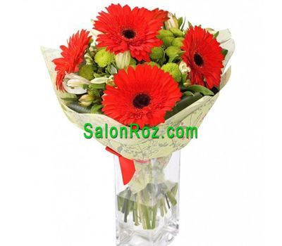 """Bouquet of flowers from 5 gerberas, 3 alstromeries and 3 chrysanthemums"" in the online flower shop salonroz.com"