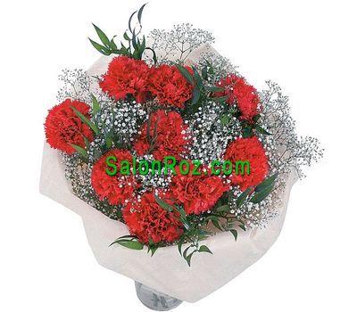 """""""Букет цветов из 9 красных гвоздик с гипсофилой"""" в интернет-магазине цветов salonroz.com"""