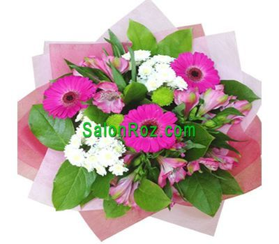 """Bouquet of 5 alstromeries, 3 gerberas and 3 chrysanthemums"" in the online flower shop salonroz.com"
