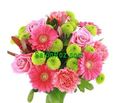 """Bouquet of flowers from 3 roses, 4 gerberas, 5 chrysanthemums and 3 carnations"" in the online flower shop salonroz.com"
