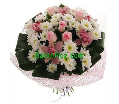 """""""Букет цветов из 5 орхидей, 5 роз и 7 хризантем"""" в интернет-магазине цветов salonroz.com"""