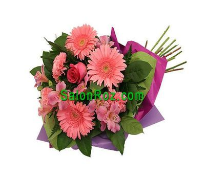 """Bouquet of flowers from 1 rose, 3 gerberas, 4 alstromeries, 3 carnations"" in the online flower shop salonroz.com"