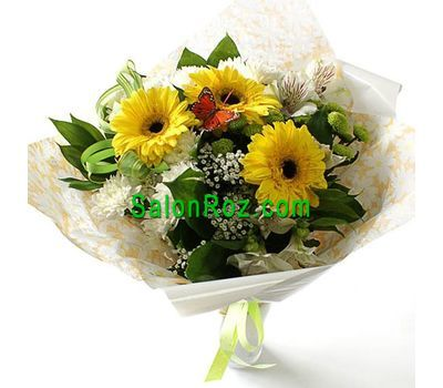 """Bouquet of flowers from 3 gerberas, 3 chrysanthemums and 1 alstroemerias"" in the online flower shop salonroz.com"
